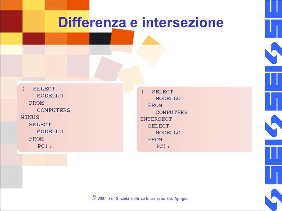 © 2007 SEI-Società Editrice Internazionale, Apogeo Differenza e intersezione