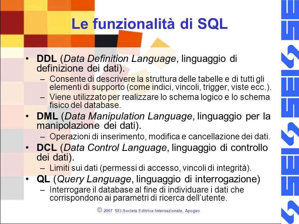© 2007 SEI-Società Editrice Internazionale, Apogeo Le funzionalità di SQL DDL (Data Definition Language, linguaggio di definizione dei dati).