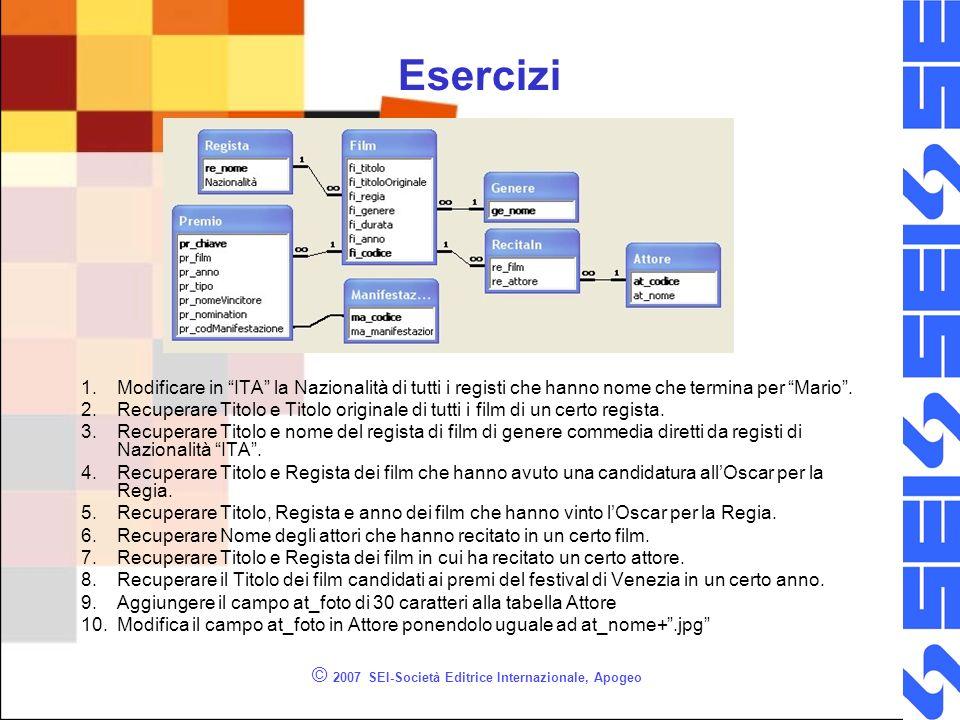 © 2007 SEI-Società Editrice Internazionale, Apogeo Esercizi 1.Modificare in ITA la Nazionalità di tutti i registi che hanno nome che termina per Mario