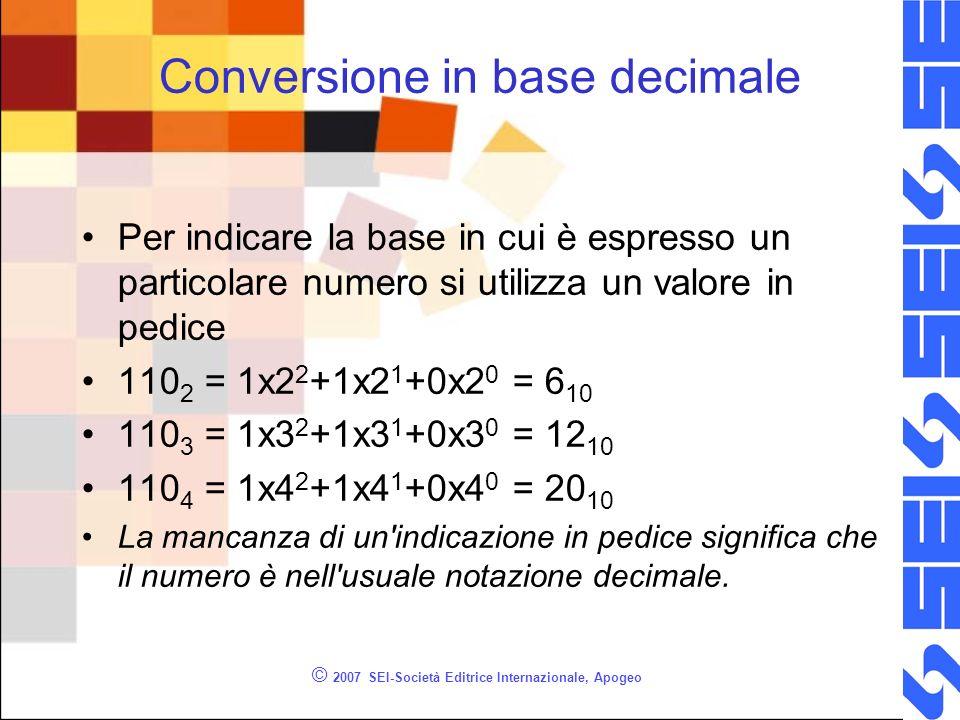 © 2007 SEI-Società Editrice Internazionale, Apogeo Conversione in base decimale Per indicare la base in cui è espresso un particolare numero si utiliz