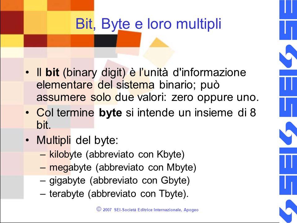 © 2007 SEI-Società Editrice Internazionale, Apogeo Bit, Byte e loro multipli Il bit (binary digit) è lunità d'informazione elementare del sistema bina