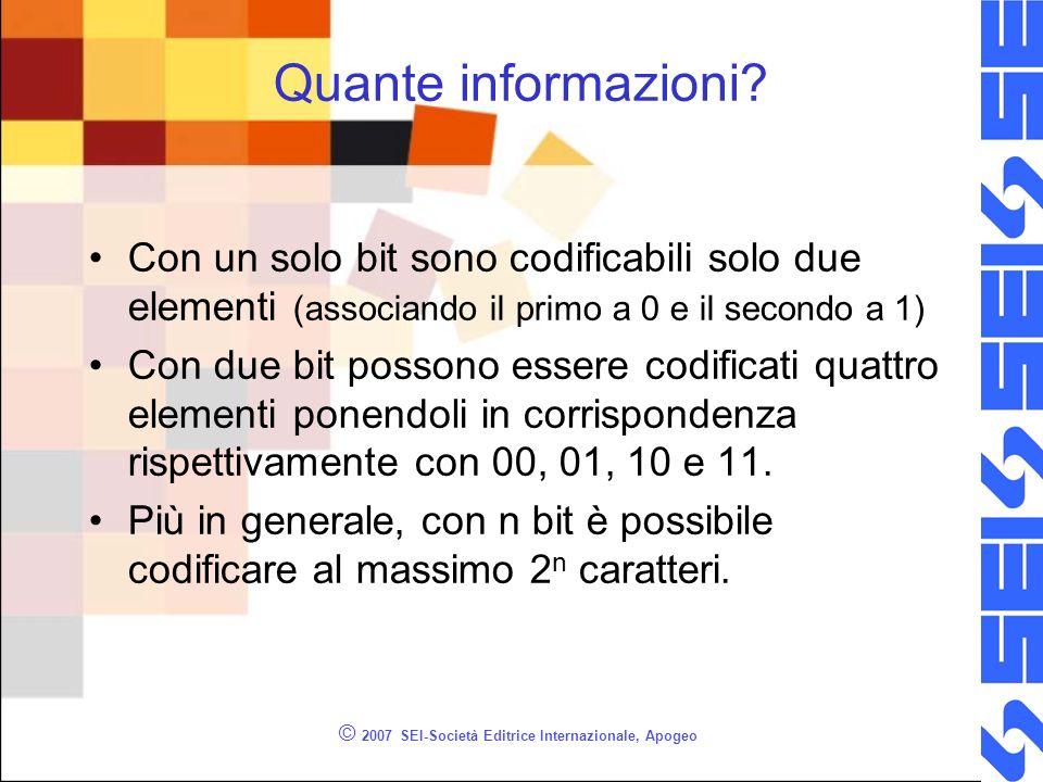 © 2007 SEI-Società Editrice Internazionale, Apogeo Quante informazioni? Con un solo bit sono codificabili solo due elementi (associando il primo a 0 e