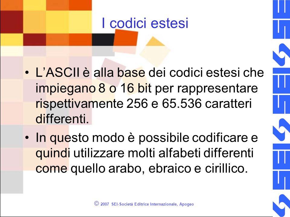 © 2007 SEI-Società Editrice Internazionale, Apogeo I codici estesi LASCII è alla base dei codici estesi che impiegano 8 o 16 bit per rappresentare ris