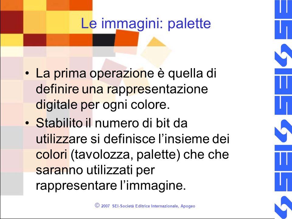 © 2007 SEI-Società Editrice Internazionale, Apogeo Le immagini: palette La prima operazione è quella di definire una rappresentazione digitale per ogn