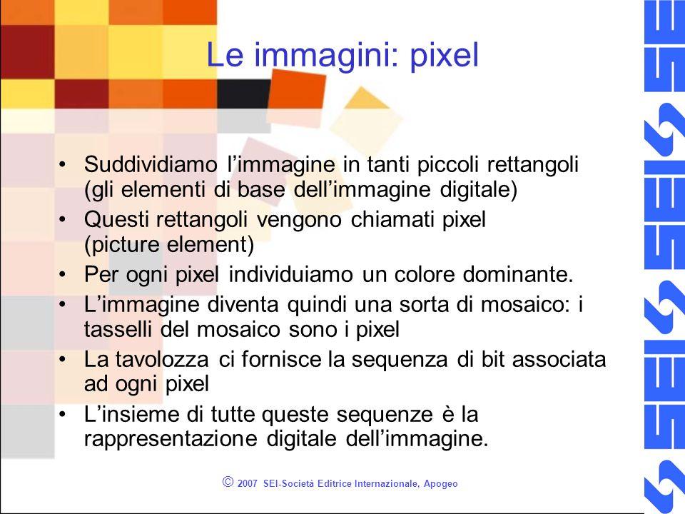 © 2007 SEI-Società Editrice Internazionale, Apogeo Le immagini: pixel Suddividiamo limmagine in tanti piccoli rettangoli (gli elementi di base dellimm