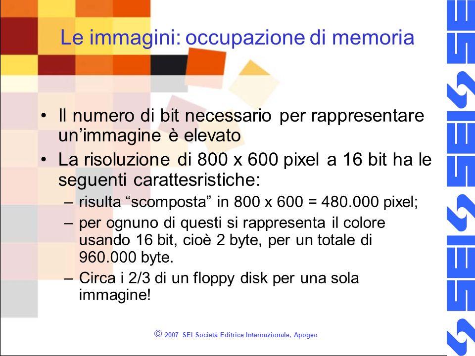 © 2007 SEI-Società Editrice Internazionale, Apogeo Le immagini: occupazione di memoria Il numero di bit necessario per rappresentare unimmagine è elev