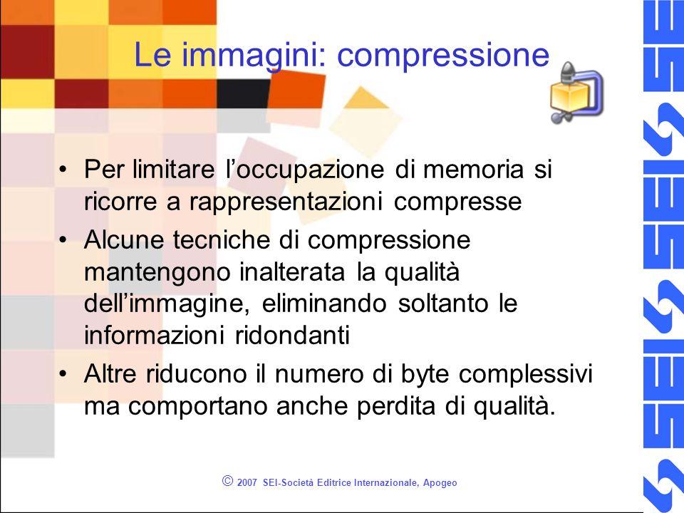 © 2007 SEI-Società Editrice Internazionale, Apogeo Le immagini: compressione Per limitare loccupazione di memoria si ricorre a rappresentazioni compre