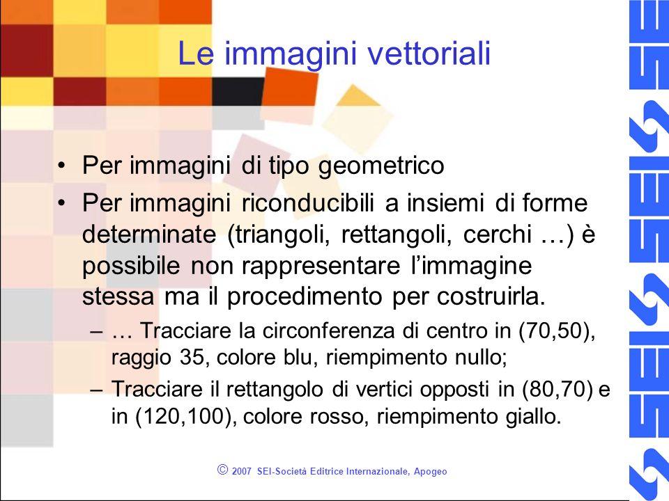 © 2007 SEI-Società Editrice Internazionale, Apogeo Le immagini vettoriali Per immagini di tipo geometrico Per immagini riconducibili a insiemi di form