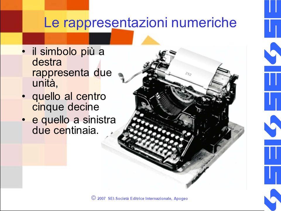© 2007 SEI-Società Editrice Internazionale, Apogeo Le rappresentazioni numeriche il simbolo più a destra rappresenta due unità, quello al centro cinqu