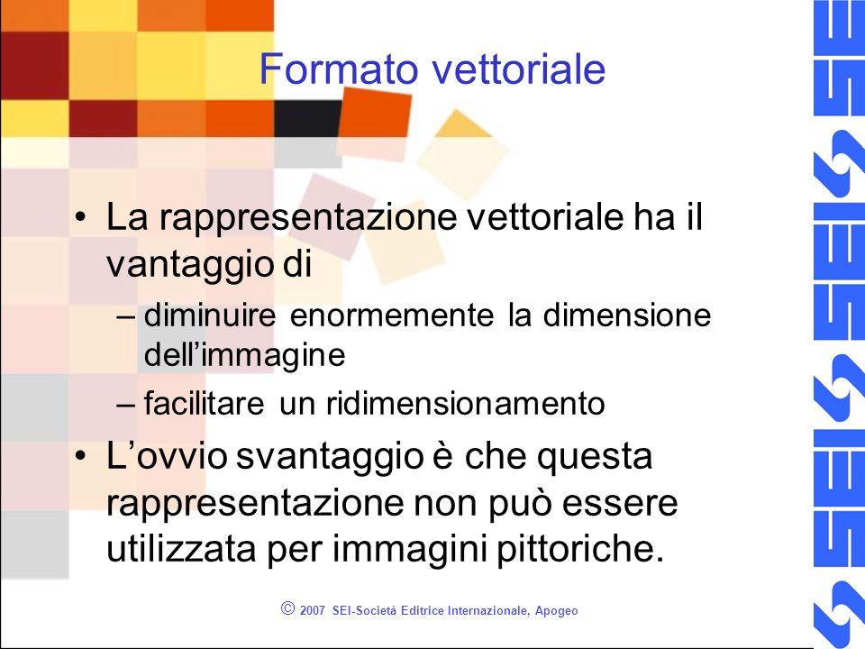 © 2007 SEI-Società Editrice Internazionale, Apogeo Formato vettoriale La rappresentazione vettoriale ha il vantaggio di –diminuire enormemente la dime