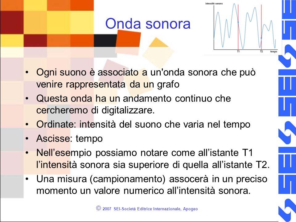 © 2007 SEI-Società Editrice Internazionale, Apogeo Onda sonora Ogni suono è associato a un'onda sonora che può venire rappresentata da un grafo Questa