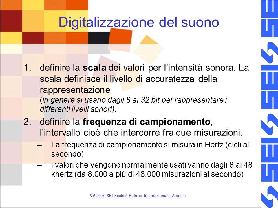 © 2007 SEI-Società Editrice Internazionale, Apogeo Digitalizzazione del suono 1.definire la scala dei valori per lintensità sonora. La scala definisce
