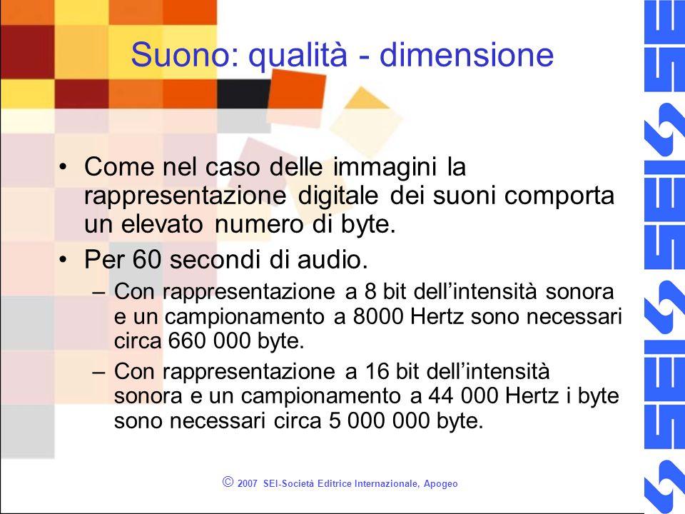 © 2007 SEI-Società Editrice Internazionale, Apogeo Suono: qualità - dimensione Come nel caso delle immagini la rappresentazione digitale dei suoni com