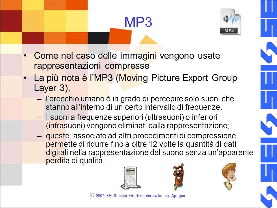 © 2007 SEI-Società Editrice Internazionale, Apogeo MP3 Come nel caso delle immagini vengono usate rappresentazioni compresse La più nota è lMP3 (Movin