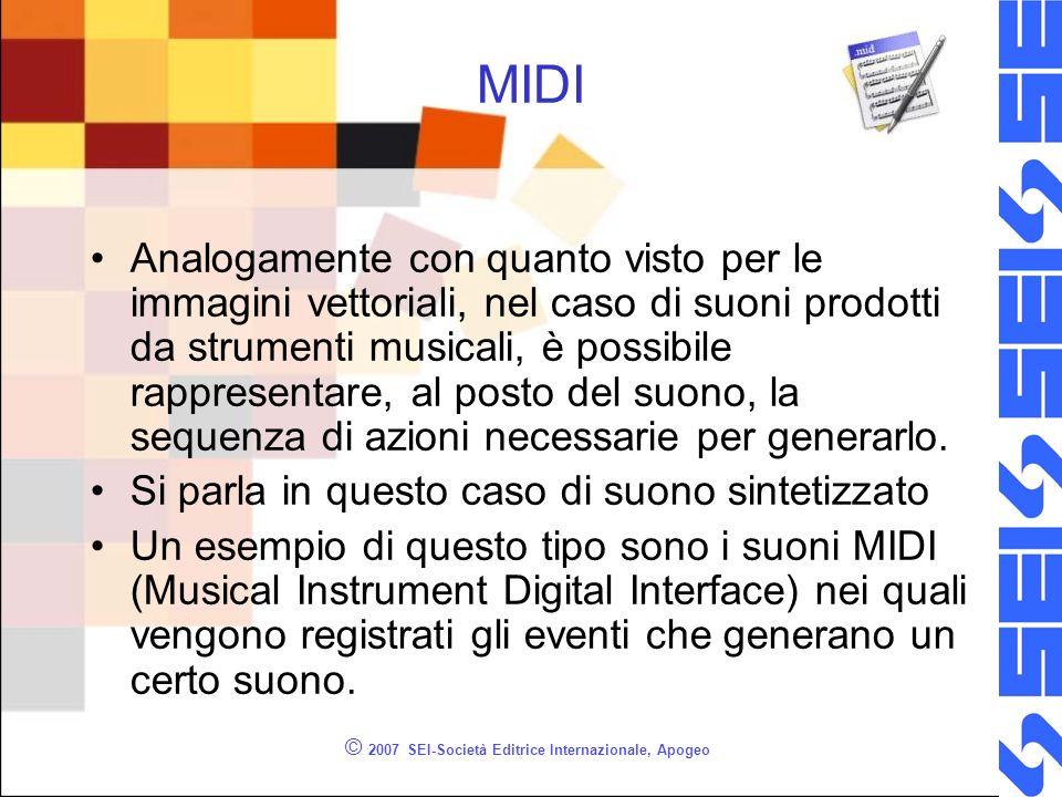 © 2007 SEI-Società Editrice Internazionale, Apogeo MIDI Analogamente con quanto visto per le immagini vettoriali, nel caso di suoni prodotti da strume