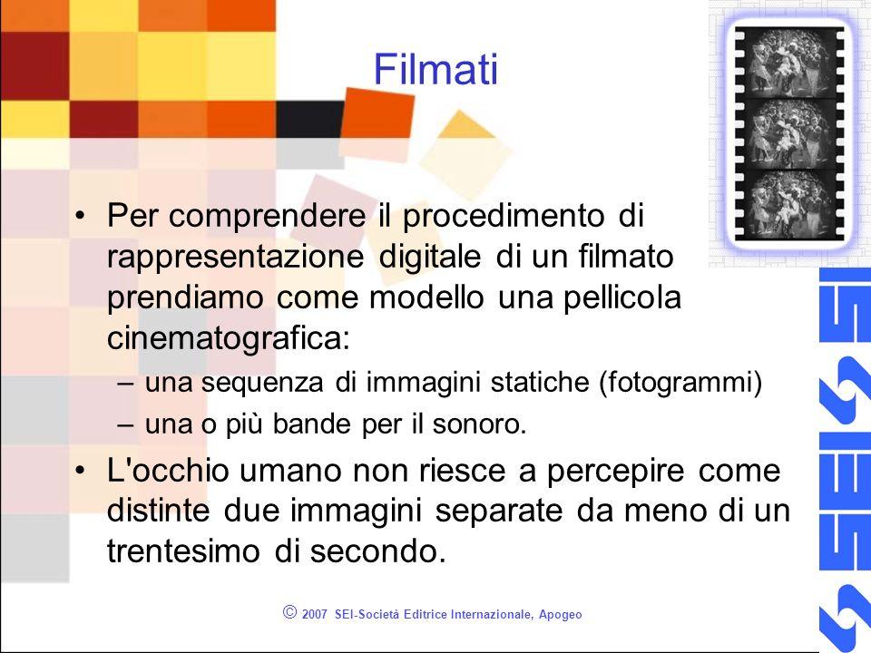 © 2007 SEI-Società Editrice Internazionale, Apogeo Filmati Per comprendere il procedimento di rappresentazione digitale di un filmato prendiamo come m
