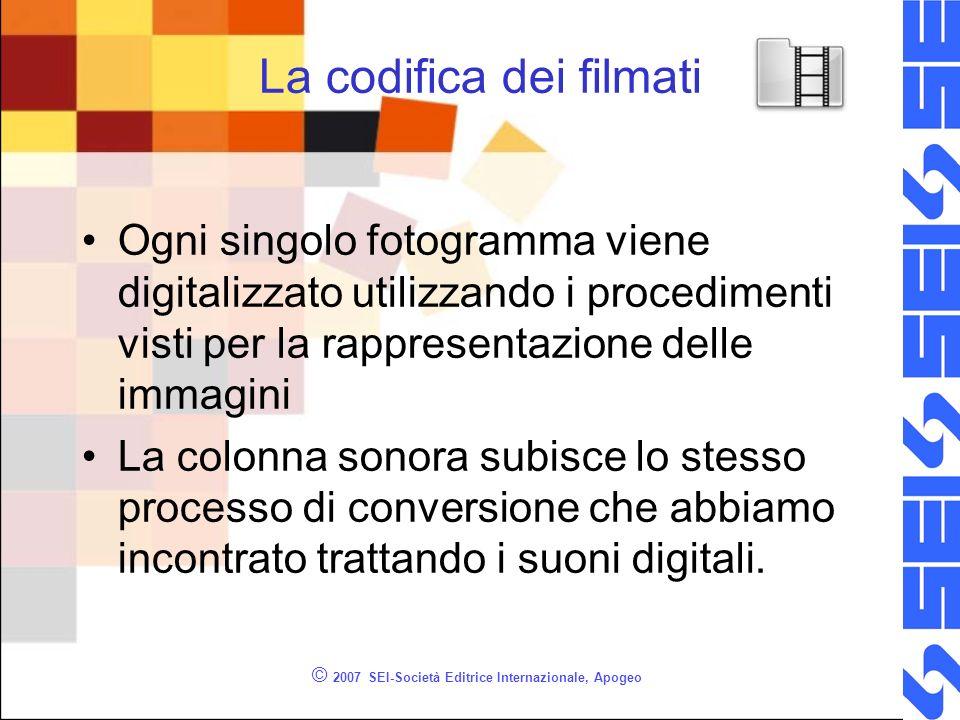 © 2007 SEI-Società Editrice Internazionale, Apogeo La codifica dei filmati Ogni singolo fotogramma viene digitalizzato utilizzando i procedimenti vist
