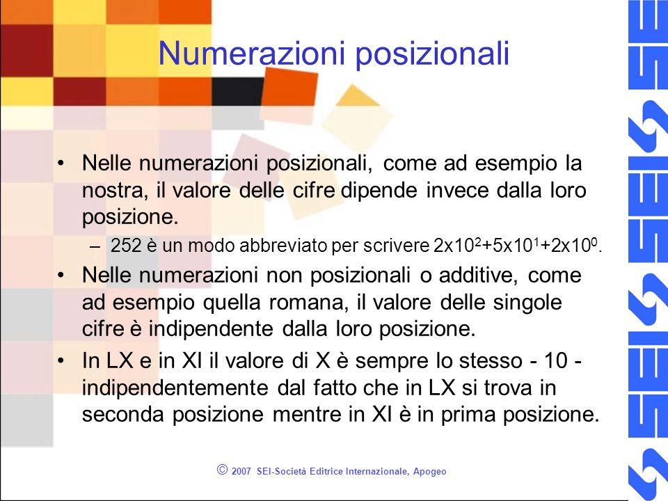 © 2007 SEI-Società Editrice Internazionale, Apogeo Numerazioni posizionali Nelle numerazioni posizionali, come ad esempio la nostra, il valore delle c