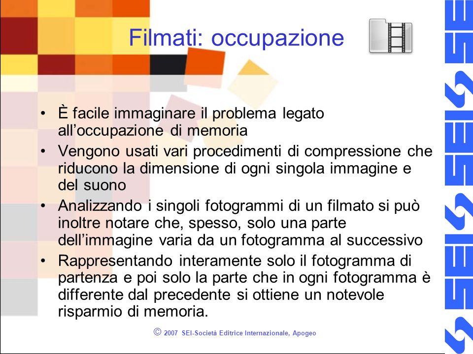 © 2007 SEI-Società Editrice Internazionale, Apogeo Filmati: occupazione È facile immaginare il problema legato alloccupazione di memoria Vengono usati