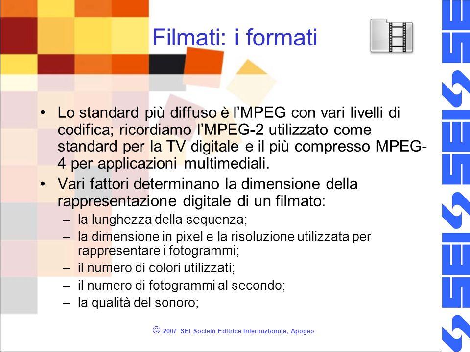 © 2007 SEI-Società Editrice Internazionale, Apogeo Filmati: i formati Lo standard più diffuso è lMPEG con vari livelli di codifica; ricordiamo lMPEG-2