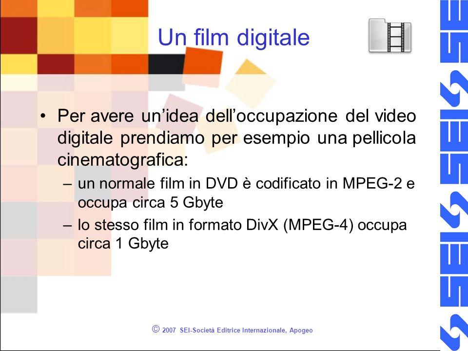 © 2007 SEI-Società Editrice Internazionale, Apogeo Un film digitale Per avere unidea delloccupazione del video digitale prendiamo per esempio una pell