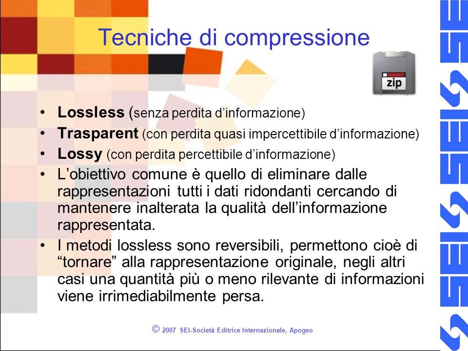 © 2007 SEI-Società Editrice Internazionale, Apogeo Tecniche di compressione Lossless ( senza perdita dinformazione) Trasparent (con perdita quasi impe