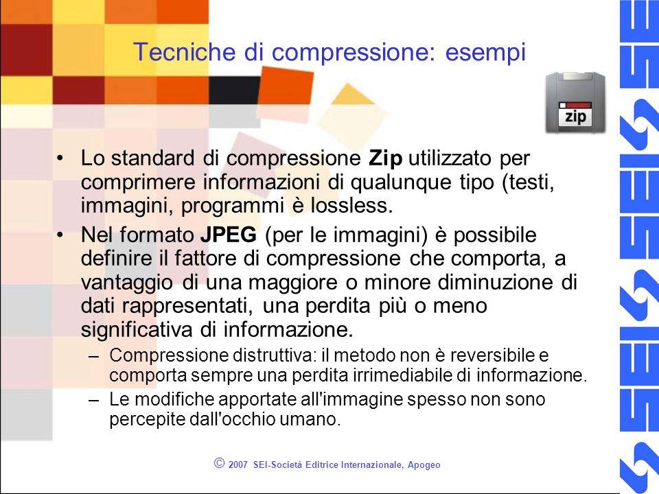 © 2007 SEI-Società Editrice Internazionale, Apogeo Tecniche di compressione: esempi Lo standard di compressione Zip utilizzato per comprimere informaz