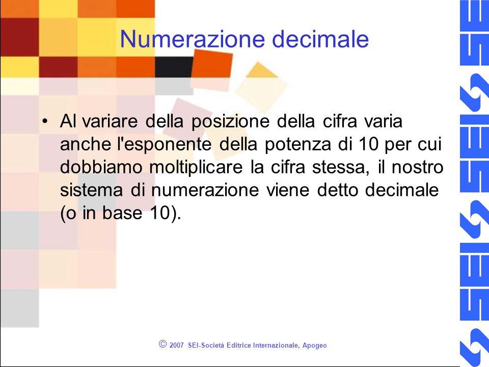 © 2007 SEI-Società Editrice Internazionale, Apogeo Numerazione decimale Al variare della posizione della cifra varia anche l'esponente della potenza d