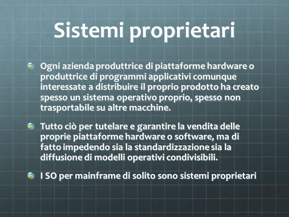 Sistemi proprietari Ogni azienda produttrice di piattaforme hardware o produttrice di programmi applicativi comunque interessate a distribuire il prop
