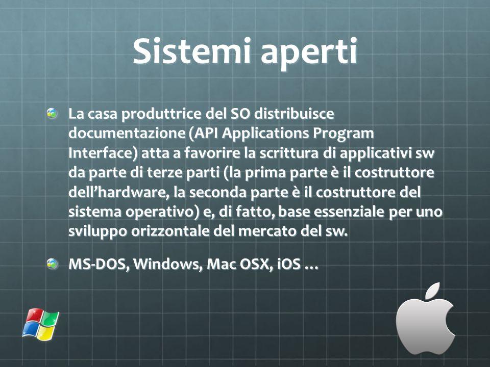 Sistemi aperti La casa produttrice del SO distribuisce documentazione (API Applications Program Interface) atta a favorire la scrittura di applicativi