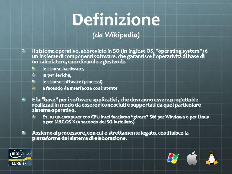 Definizione (da Wikipedia) Il sistema operativo, abbreviato in SO (in inglese OS,