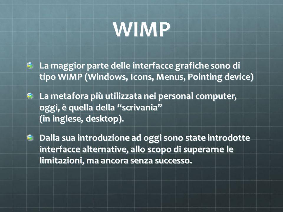 WIMP La maggior parte delle interfacce grafiche sono di tipo WIMP (Windows, Icons, Menus, Pointing device) La metafora più utilizzata nei personal com