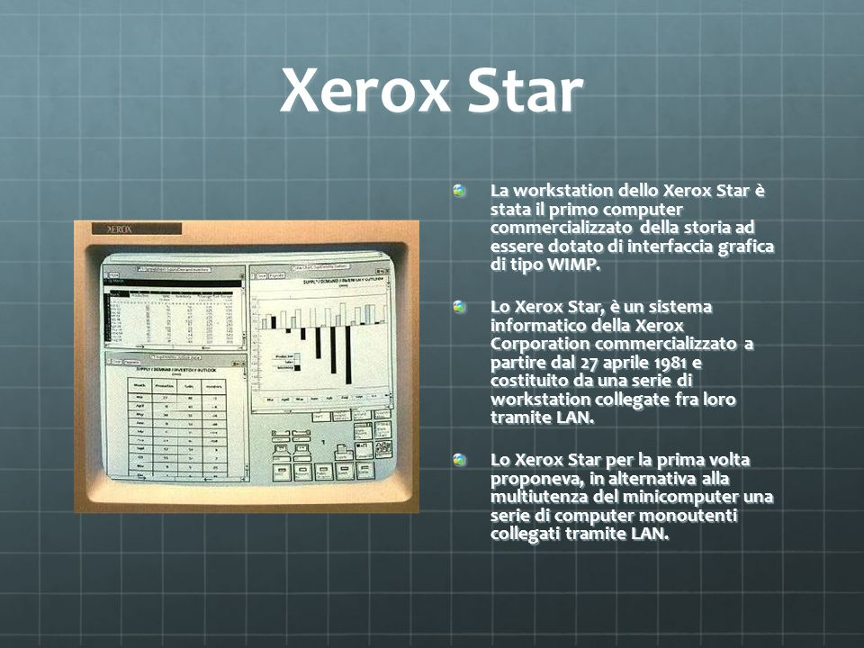 Xerox Star La workstation dello Xerox Star è stata il primo computer commercializzato della storia ad essere dotato di interfaccia grafica di tipo WIM