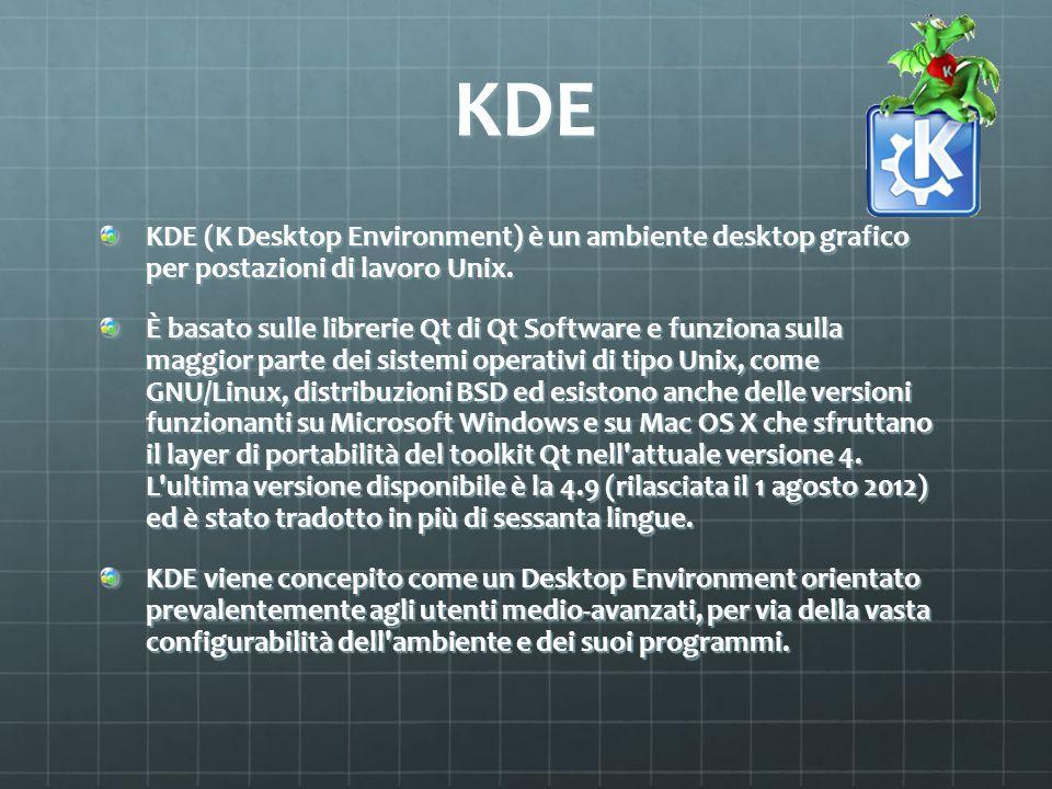 KDE KDE (K Desktop Environment) è un ambiente desktop grafico per postazioni di lavoro Unix. È basato sulle librerie Qt di Qt Software e funziona sull