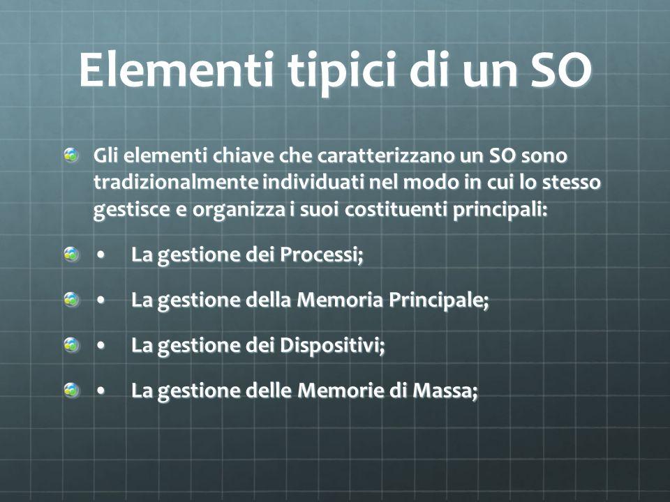 Elementi tipici di un SO Gli elementi chiave che caratterizzano un SO sono tradizionalmente individuati nel modo in cui lo stesso gestisce e organizza