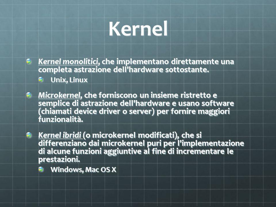 Kernel Kernel monolitici, che implementano direttamente una completa astrazione dell'hardware sottostante. Unix, Linux Microkernel, che forniscono un