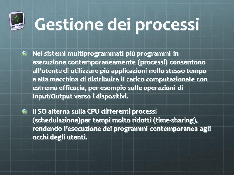 Gestione dei processi Nei sistemi multiprogrammati più programmi in esecuzione contemporaneamente (processi) consentono allutente di utilizzare più ap