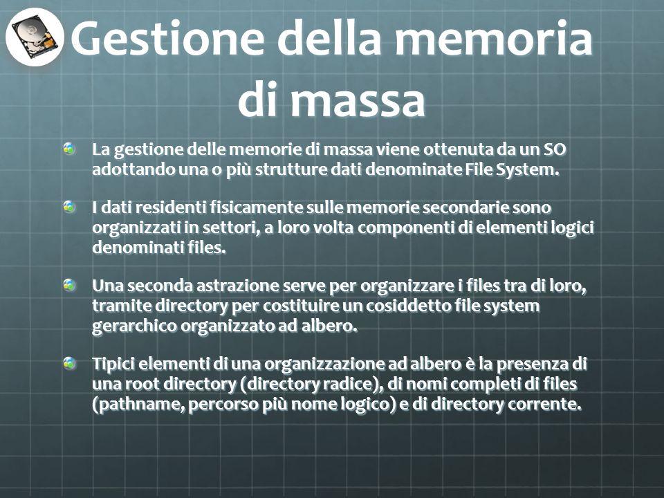 Gestione della memoria di massa La gestione delle memorie di massa viene ottenuta da un SO adottando una o più strutture dati denominate File System.