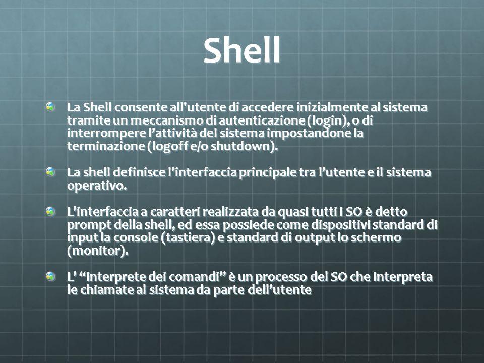 Shell La Shell consente all'utente di accedere inizialmente al sistema tramite un meccanismo di autenticazione (login), o di interrompere lattività de