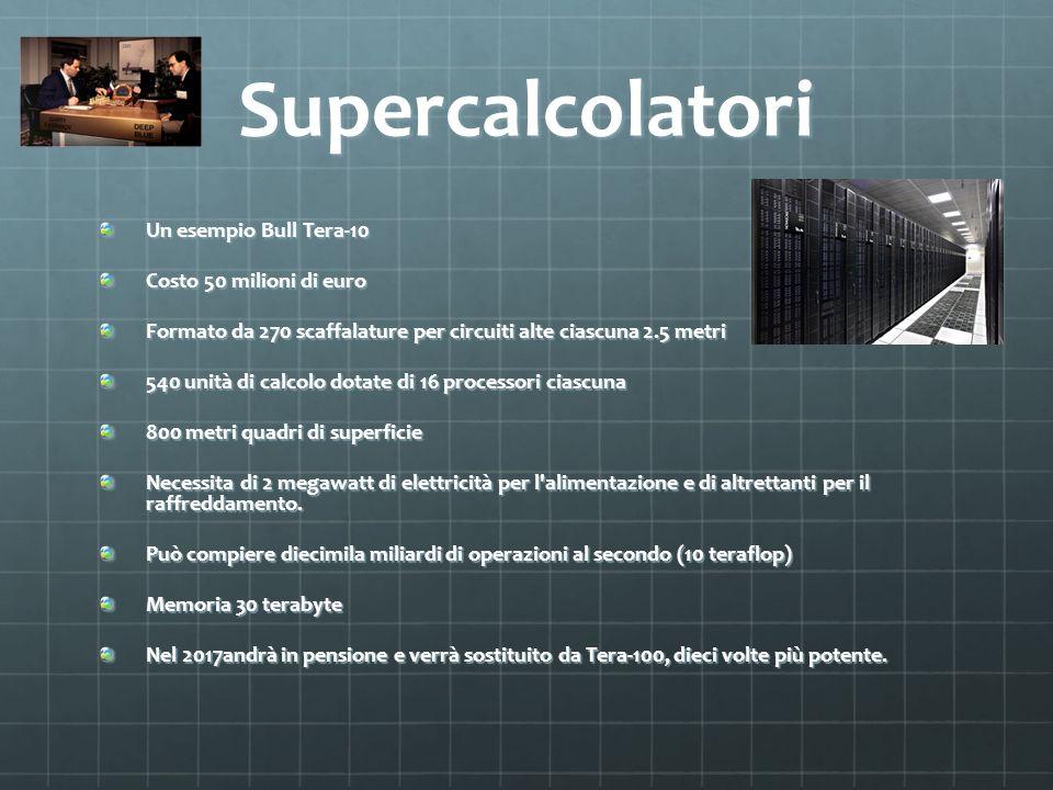 Supercalcolatori Un esempio Bull Tera-10 Costo 50 milioni di euro Formato da 270 scaffalature per circuiti alte ciascuna 2.5 metri 540 unità di calcol