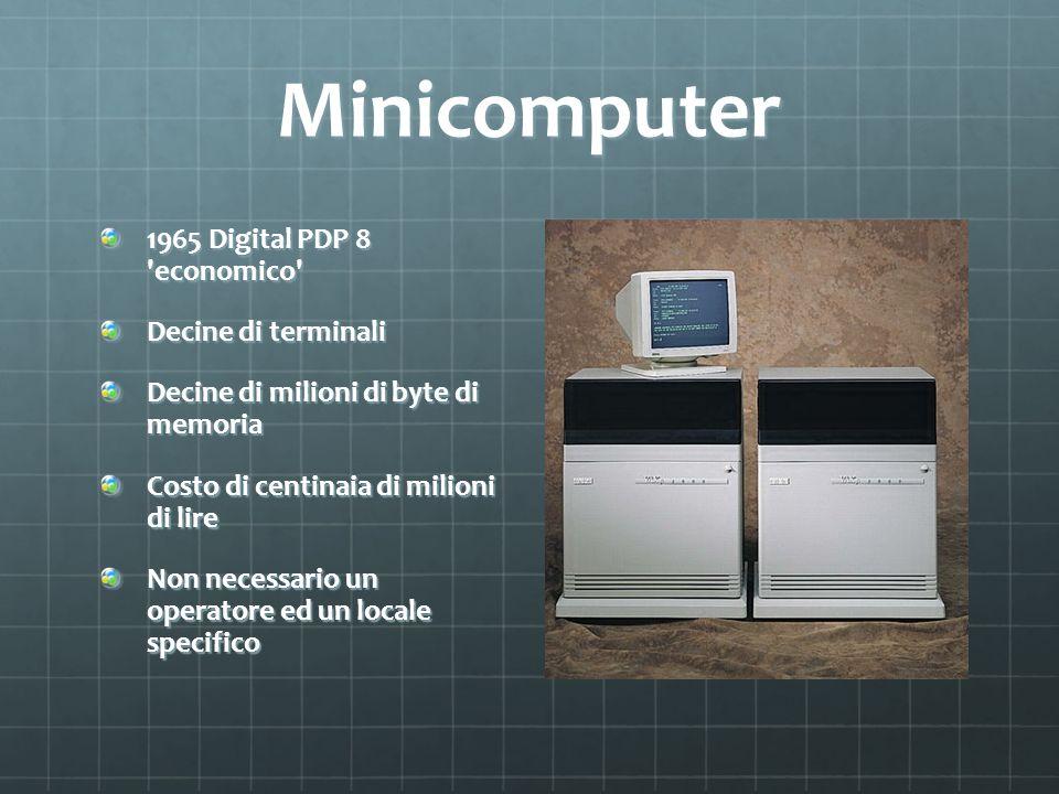 Minicomputer 1965 Digital PDP 8 'economico' Decine di terminali Decine di milioni di byte di memoria Costo di centinaia di milioni di lire Non necessa