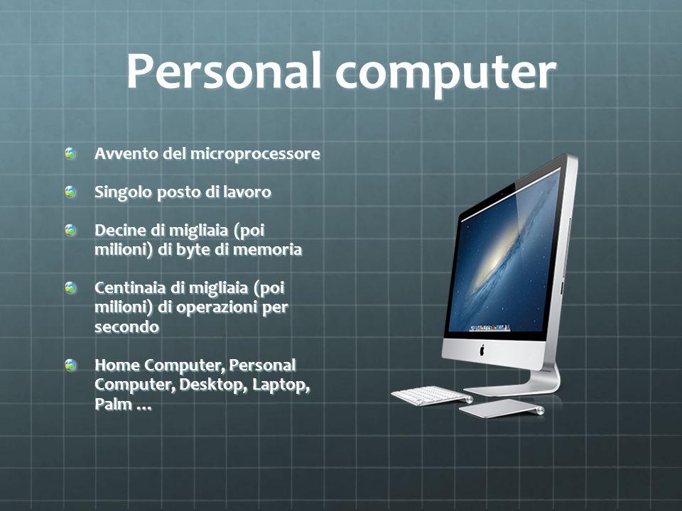 Personal computer Avvento del microprocessore Singolo posto di lavoro Decine di migliaia (poi milioni) di byte di memoria Centinaia di migliaia (poi m
