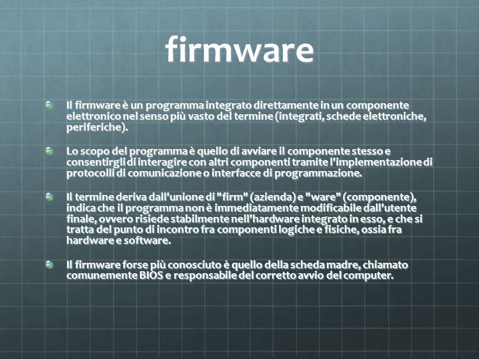 firmware Il firmware è un programma integrato direttamente in un componente elettronico nel senso più vasto del termine (integrati, schede elettronich