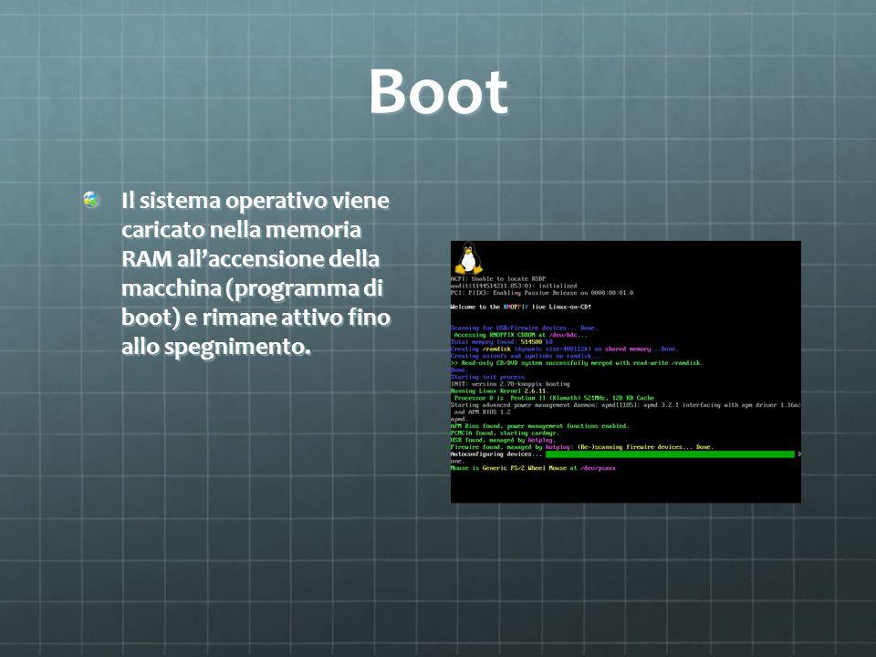 Boot Il sistema operativo viene caricato nella memoria RAM allaccensione della macchina (programma di boot) e rimane attivo fino allo spegnimento.