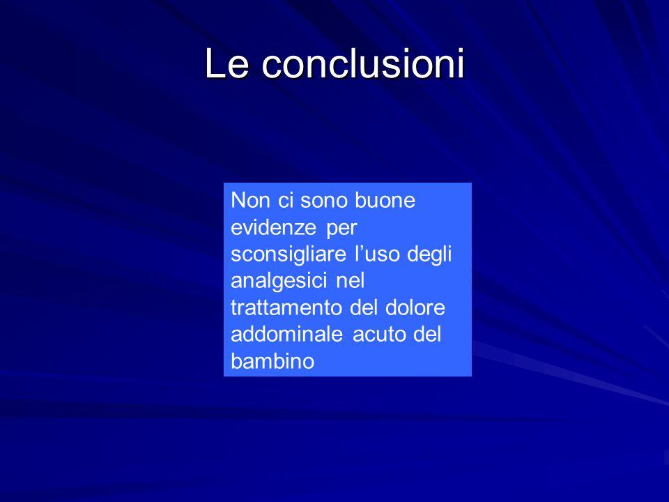 Le conclusioni Non ci sono buone evidenze per sconsigliare luso degli analgesici nel trattamento del dolore addominale acuto del bambino
