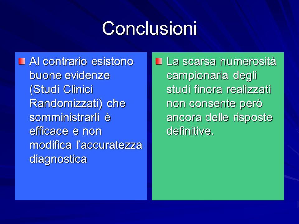 Conclusioni Al contrario esistono buone evidenze (Studi Clinici Randomizzati) che somministrarli è efficace e non modifica laccuratezza diagnostica La