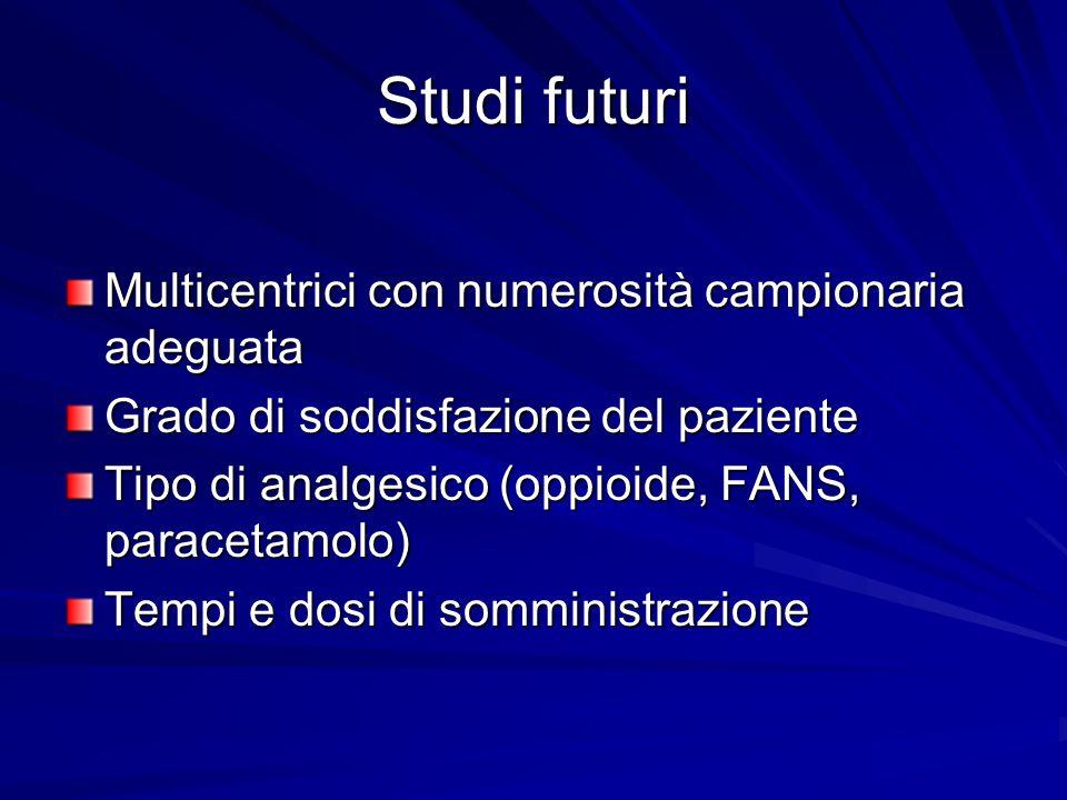 Studi futuri Multicentrici con numerosità campionaria adeguata Grado di soddisfazione del paziente Tipo di analgesico (oppioide, FANS, paracetamolo) T