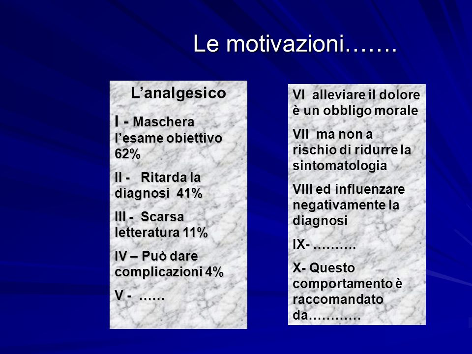Le motivazioni……. Lanalgesico I - Maschera lesame obiettivo 62% II - Ritarda la diagnosi 41% III - Scarsa letteratura 11% IV – Può dare complicazioni