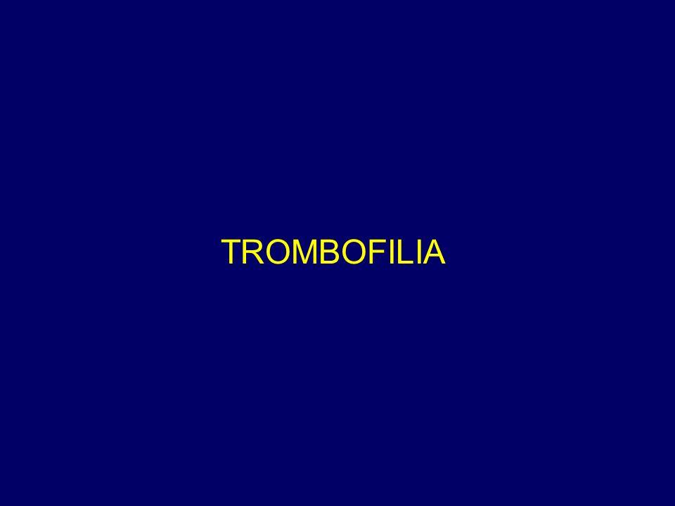 Incidenza di tromboembolismo venoso (TEV) in individui asintomatici con trombofilia ereditaria incidenza TEV %/Anno Popolazione generale0.1 Deficit Antitrombina0.87-1.6 Deficit Proteina C0.43-1.00 Deficit Proteina S0.40-1.65 FV Leiden0.25-0.56 Protrombina G20210A0.55