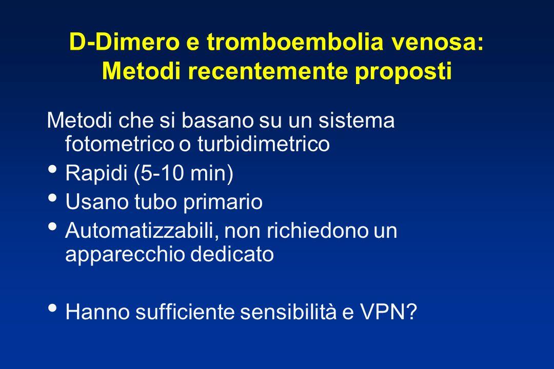 D-Dimero e tromboembolia venosa: Metodi recentemente proposti Metodi che si basano su un sistema fotometrico o turbidimetrico Rapidi (5-10 min) Usano